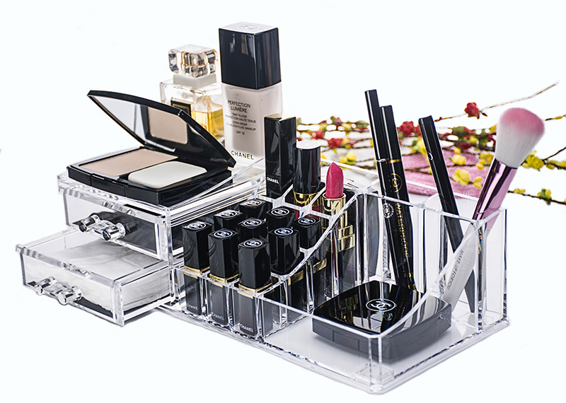 Clear Acrylic Cosmetic Organizer Makeup Drawer Organizer Lipstick Liner Brush Lip Gloss Holder with Drawer Jewelry Case