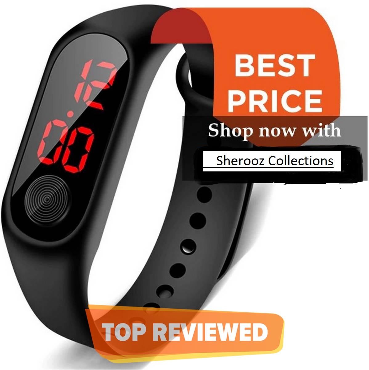 Black Luxury Men Women Sport Casual M3 Led Bracelet Digital Watch Band  Fashion Watch Bracelet For Boys and Girls  Smart Bracelet Led Wrist Watch  Wristband Fitness watch