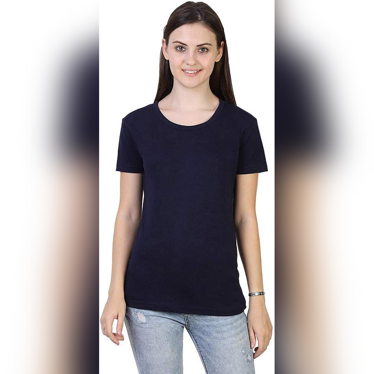 Multi Colour Plain Round Neck Half Sleeves Casual T Shirts for Girls Women & Ladies Black Red Light Grey White