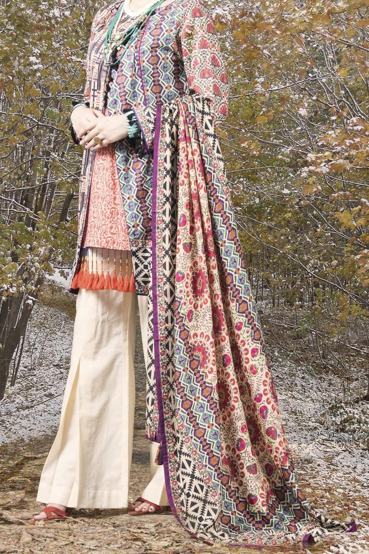 a83eea9173 Almirah Winter Collection ORANGE CAMBRIC 3PC -Unstitched Suit for Women