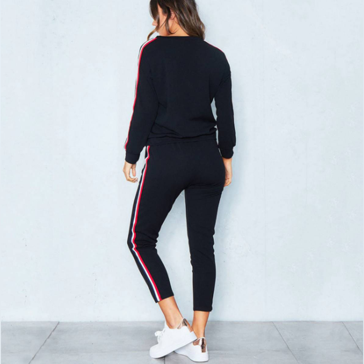 Black Womens Ladies Long Sleeve Lounge Wear Tracksuit Co Ord Set Casual Gym Suit