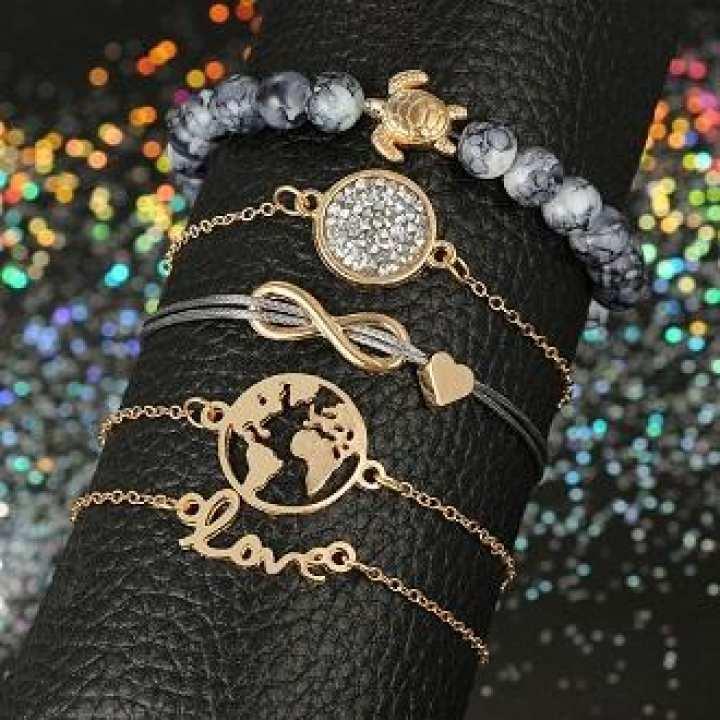 Vintage Turtle Heart Map Rhinestone Infinity Love Bangle Bracelet Set