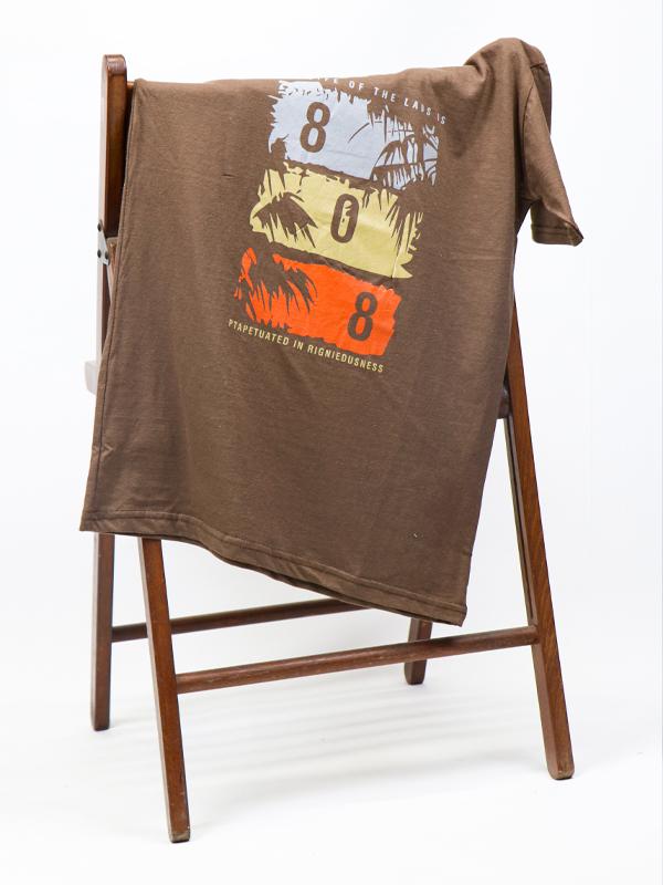 Cut Price Summer T-Shirt for Men Printed 808 Brown