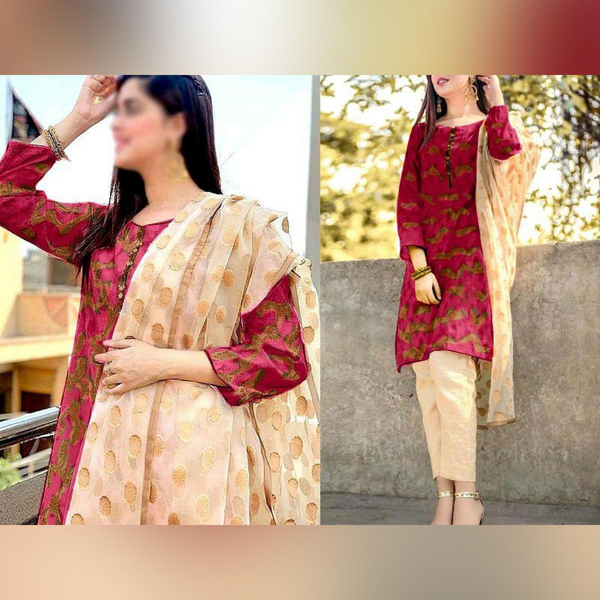 jacquard Organza 3 pcs Un-stitched suit