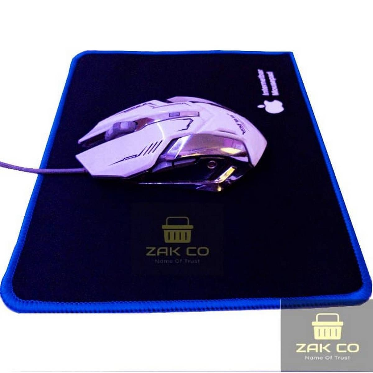 100%ORIGINAL Stitched Edges Gaming Mouse Pad Non Slip Rubber Thick  - Soft Cloth Mousepad for Basic and Gaming - Medium Size 9.5 x 8.5 Inches 2.5mm Thickness - Office Use High Quality Premium - Blue Lock Edges Anti Slip Black Mouse Sheet - Gaming - PUBG