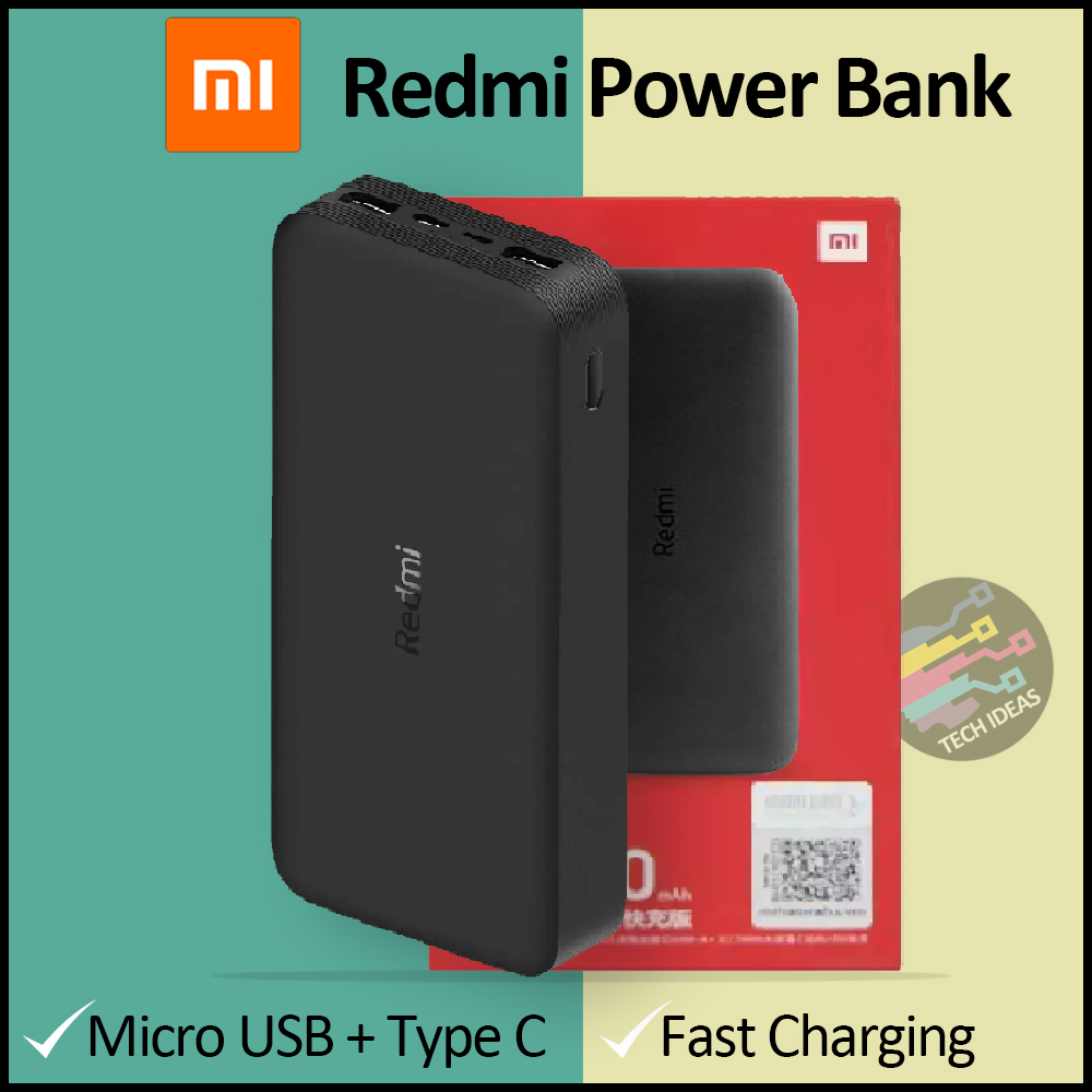 Xiaomi Mi Redmi Power Bank 20000mAh - 18W Fast Charge Dual USB Output - Type C Input - Mobile / Tablet / Laptop - Model PB200LZM - White & Black - With Cable