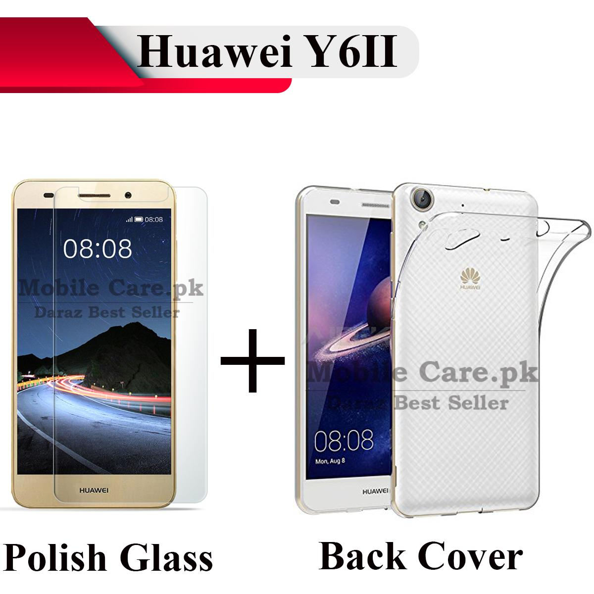 Huawei Y6II (Huawei Y6-2) Tempered Glass Screen Protector Polish Glass Back Cover Transparent Soft Silicone Crystal Clear Case Cover For Huawei ...