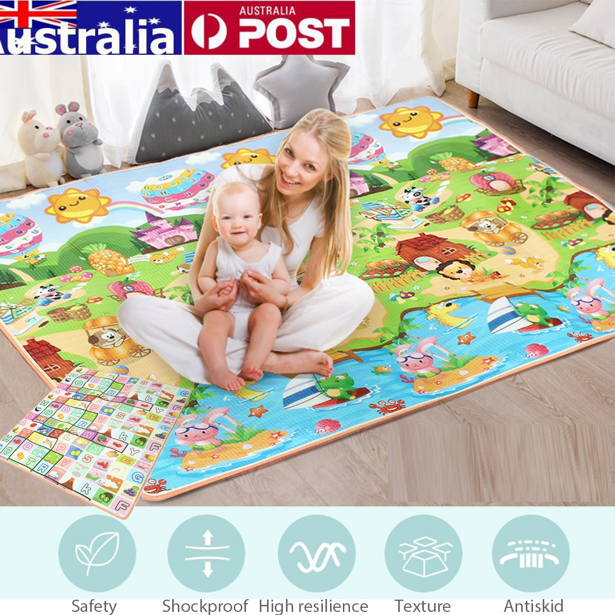 2021 New Arrival - Export quality Double Sided Baby Play & Crawling Mat, Picnic Mat, Kids Play Mat. Children's Rug Crawling Pad Kid Developing Play mat Infant Carpet Rattle Activity Educational Toys for Children