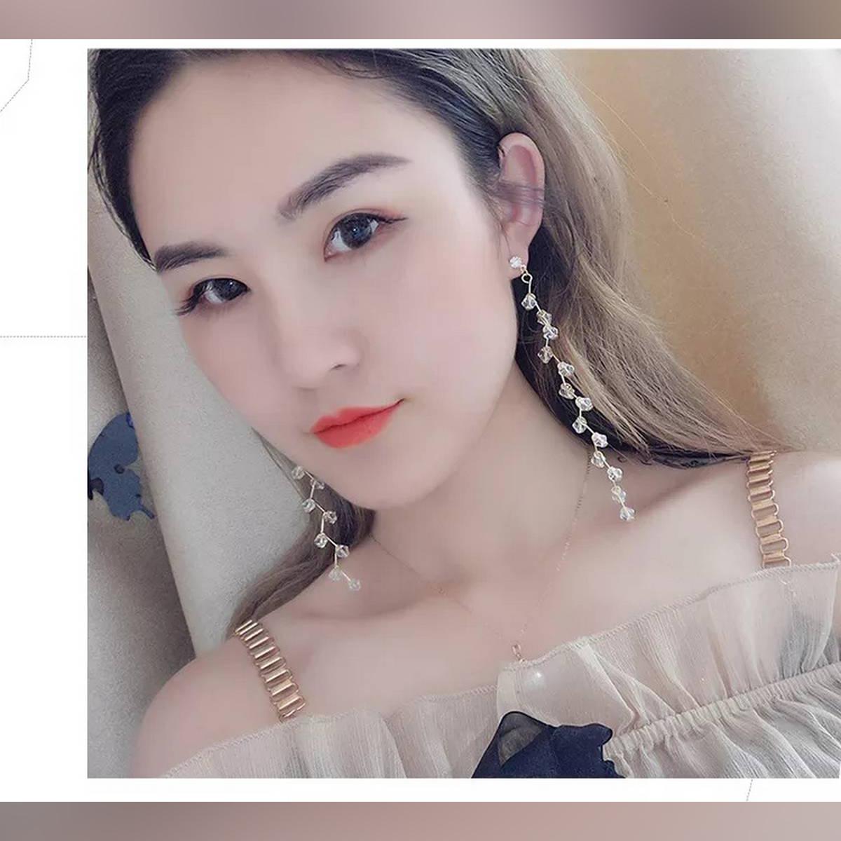 New Fashion Long Tassel Drop Earrings Crystal Flower Fashion Jewelry boucle d'oreille Women Dangle Brincos Wedding Engagement Earring