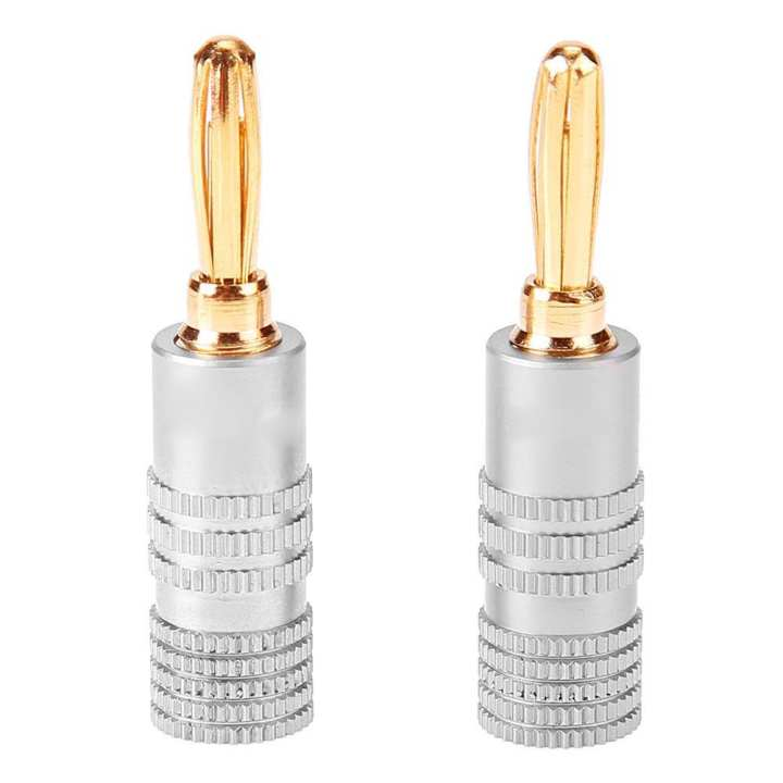 1pc Gold Plated Brass Speaker Plug DIY Audio Cable Jack Connector Grey