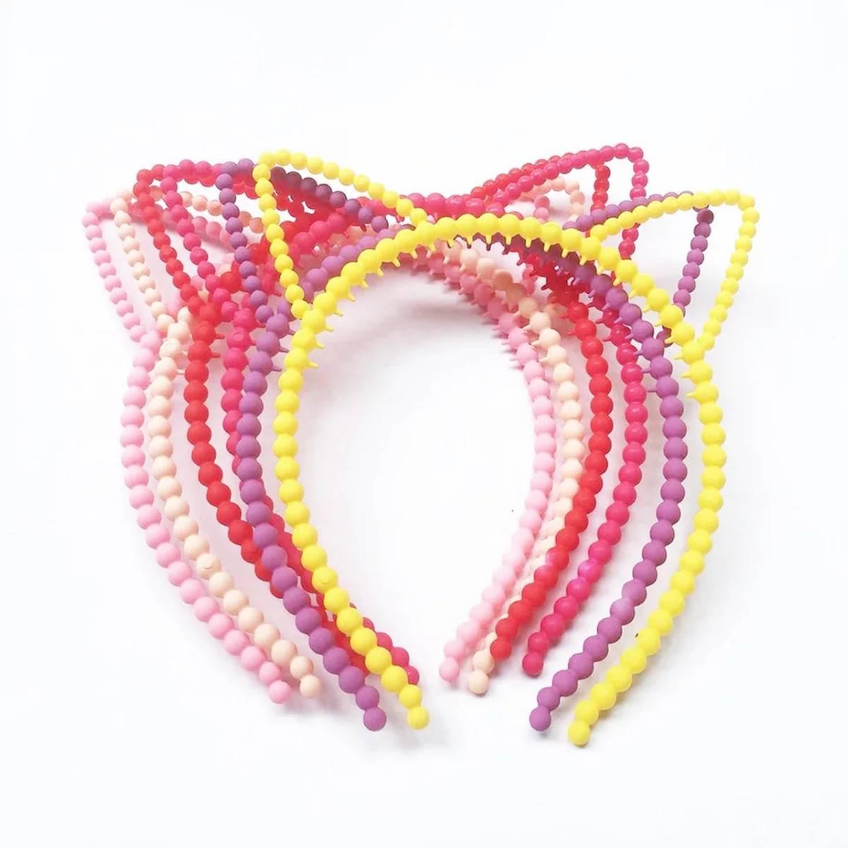 1pc Cute Cartoon Cat Ears Girls Pearl Headbands Princess Crown Party Hairbands Tiara Plastic Turban Kids Headwear