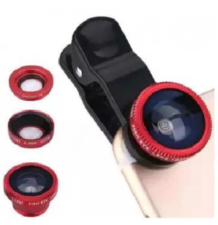3 In 1 - Clear Zoom Mobile Camera Lens Selfie Mobile Phone Clip Lenses Fish Eye Wide Angle Macro Camera