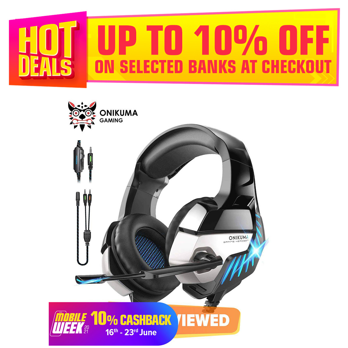 ONIKUMA K5 Pro Gaming Headphone Hi-Fi Subwoofer Headset 7.1 Virtual Stereo Headset With Mic for PS4 PC Xbox One - Black & Blue