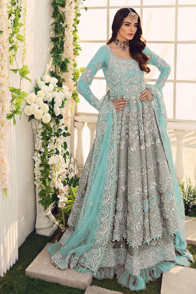 Bridal Wedding Collection Net Embroidered Maxi Dress For Women