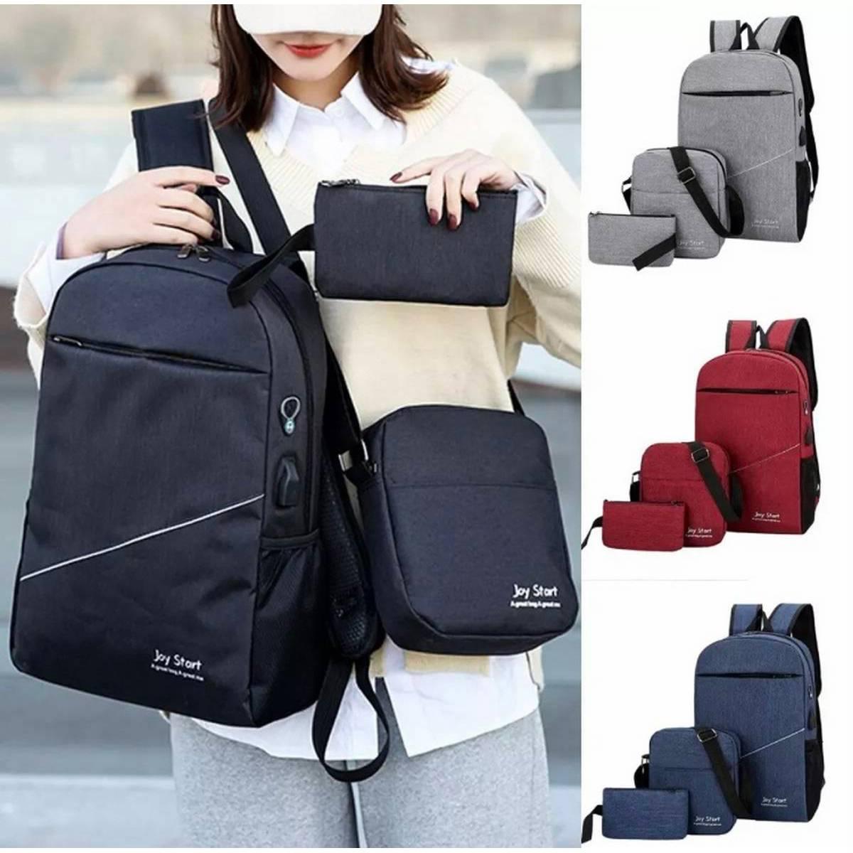 3pcs Set Laptop Backpack Men Business Water Repellent Hidden Zipper Backpacking Trip USB Charger Male Bag