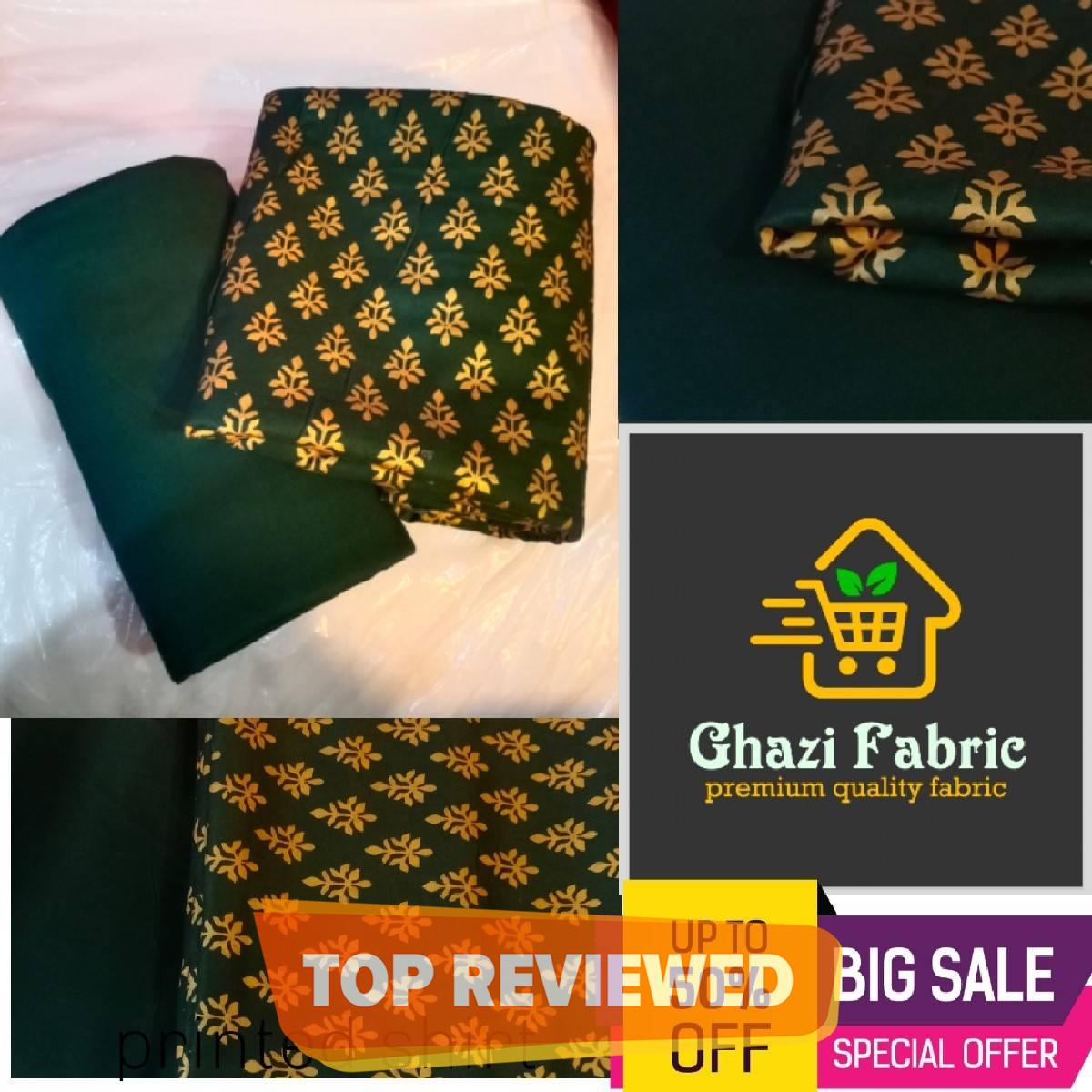 Ghazi fabric Unstitched Linen Printed shirt & Plain trouser 2 pc linen collection green (982)