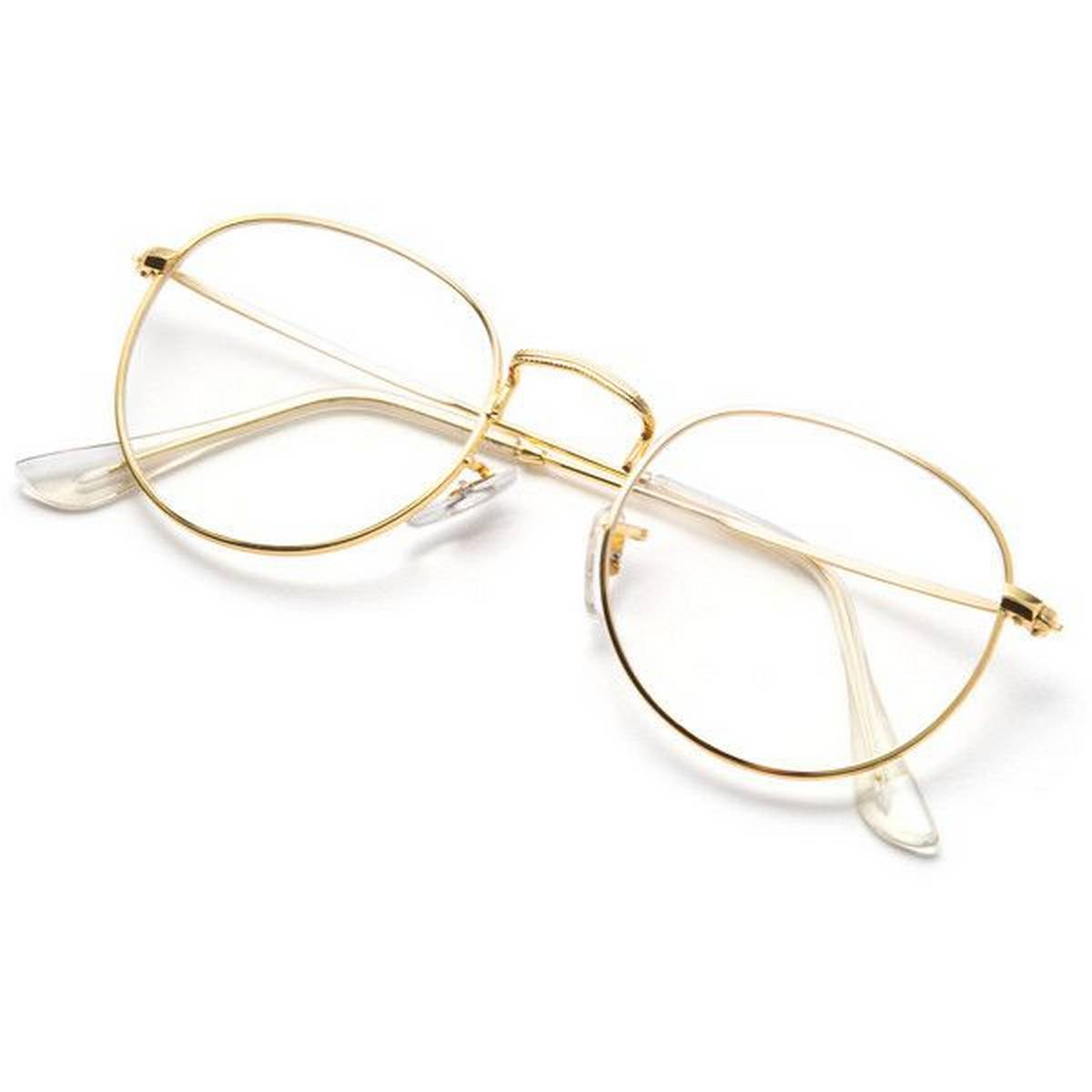 Best Quality New Design Half Round Transparent Stylish Glasses with Golden Frame For Men/Women