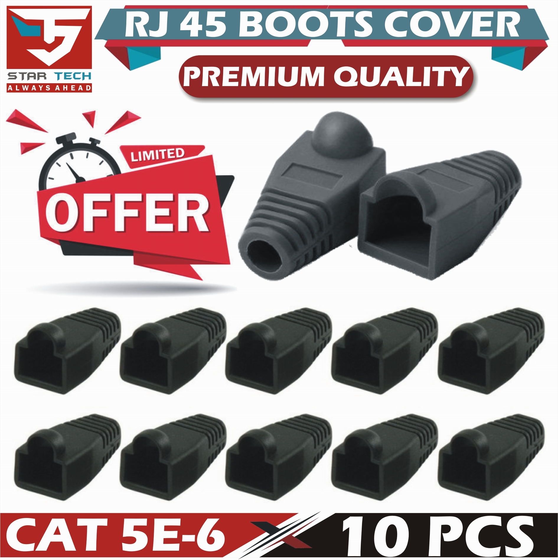 10X RJ45 Connector Strain Relief Rubber Boots Cover Network LAN Ethernet Patch Cable Plug Caps