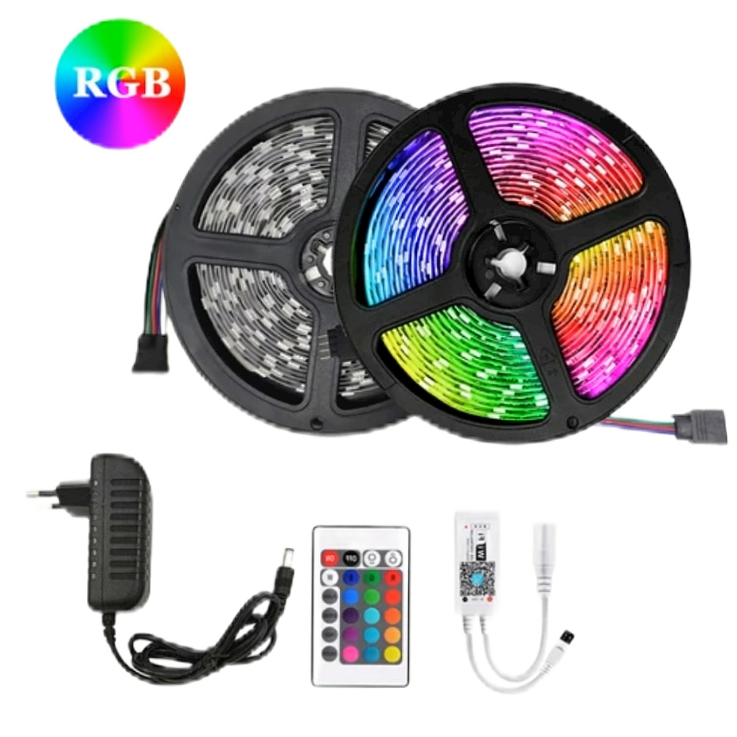 RGB LED Strip Light, Remote Control RGB LED Strip Light, 3528 LED Strip Light, Waterproof IP65 RGB SMD LED Light with Complete Kit for Home, Room, Wall, TV, Computer Table, Home Decoration, Ceiling, Bed Room, Interior, Gaming Setup | Home-Assistant