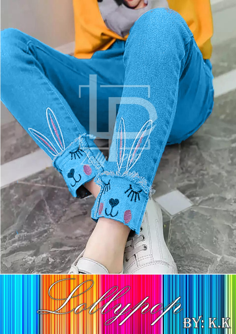 Light Blue Rabbit Style Jeans for Girl