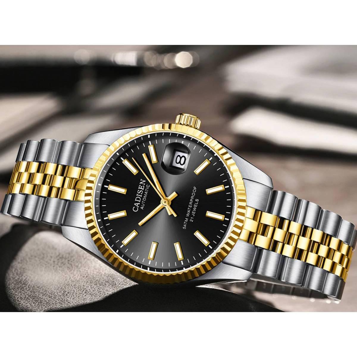 CADISEN Seagull 2813 Movement Men`s Watch Automatic Mechanical Watches 50M Diving Auto date Wrist Watch Men relogio masculino