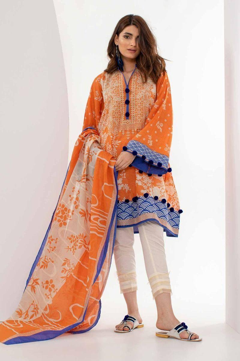 9ee4bc6663 Khaadi Orange Unstitched Lawn Eid Collection 3Pc Embroidered Collection  Unstitched Fabric Pakistani Traditional Clothing 2019