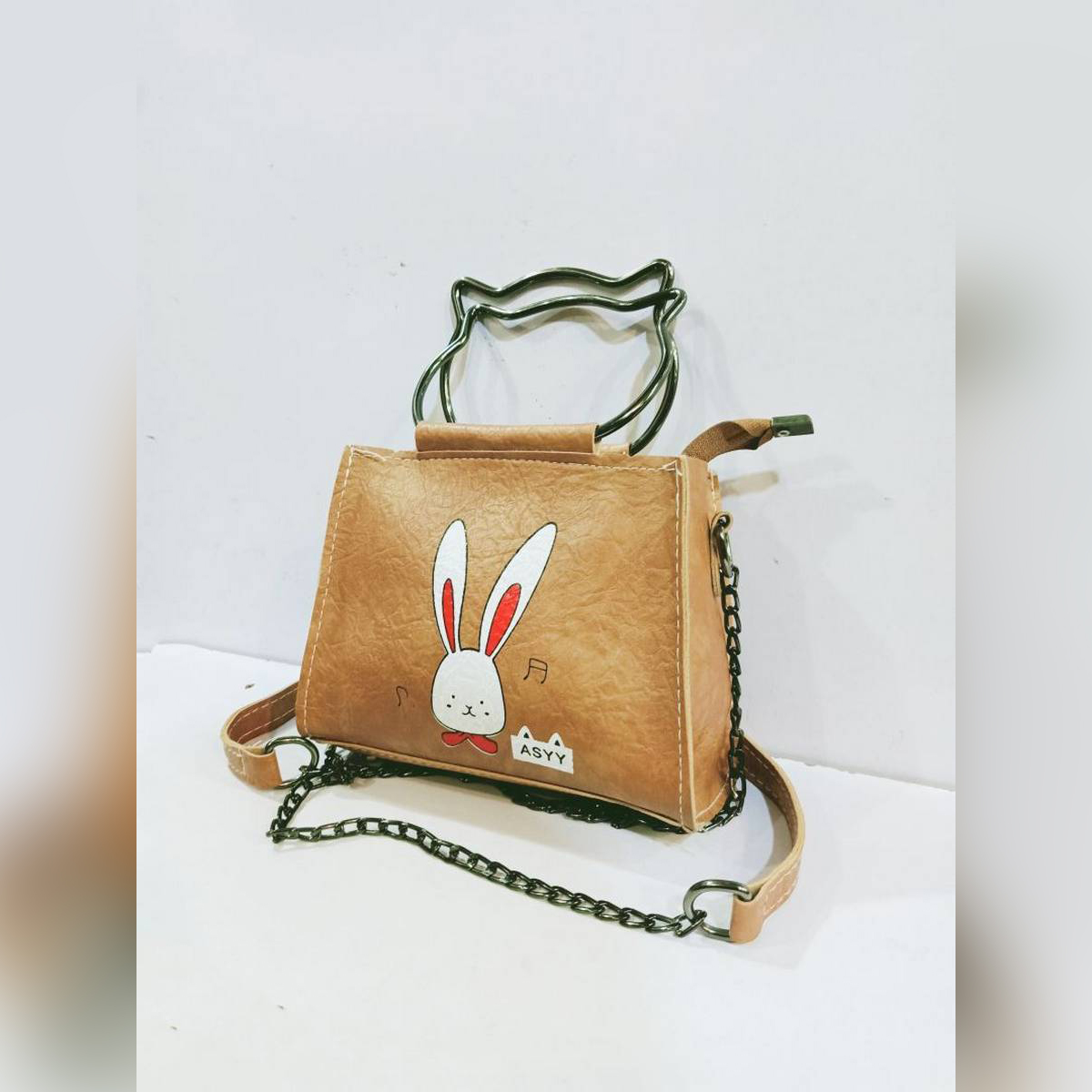 2 Style Use Pu Leather Material Bag(Double Steel Handle Hand Clutch+Side Shoulder Carry Bag)