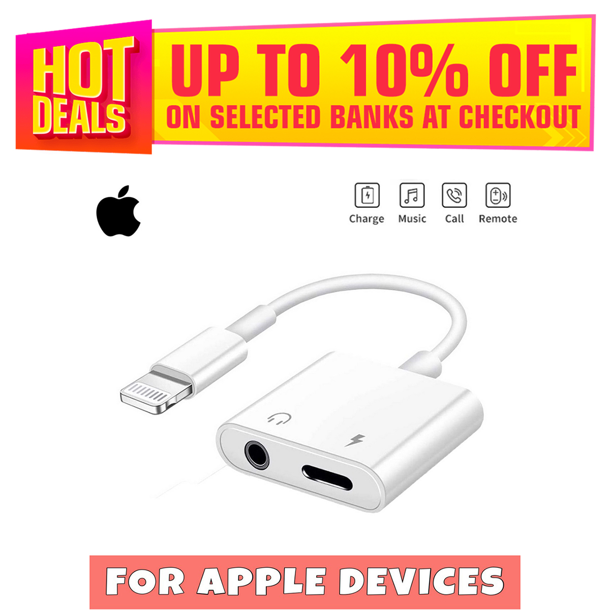 AEYTECH Iphone Headphone 2 in 1 Jack Adapter LIGHTNING TO 3.5MM HEADPHONE JACK ADAPTER FOR IPHONE Headphones Adapter to Dongle Aux Cable Converter Iphone Headphones Convertor Car Charge Accessories Cables & Audio Connector 2 in 1 Earphone Splitter