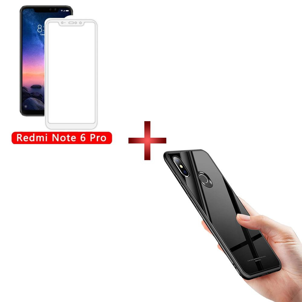 Pack of 2 Redmi Note 6 Pro 2.5D Full Coverage Glass With Back Color Glass