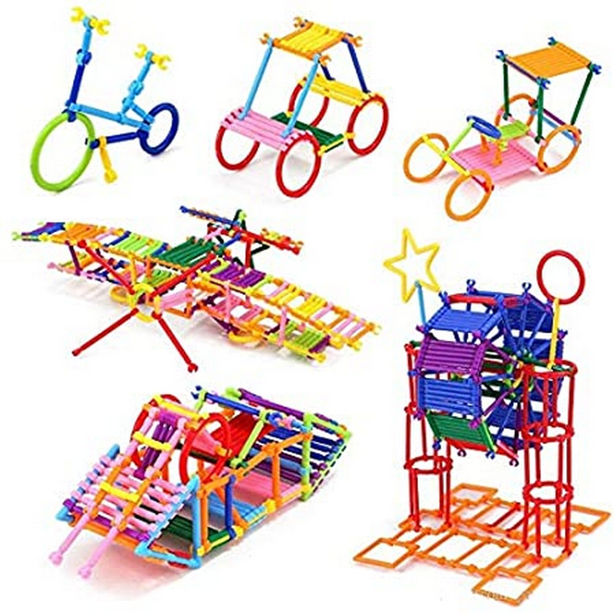 600 Pcs - Dream Colorful Activity Sticks Building Blocks Toys for Boys Girl Kids Children-