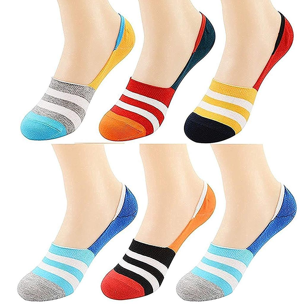28dbd93e6 3 Pair multicolor stripes invisible Socks Low Cut Loafer for Women and Men