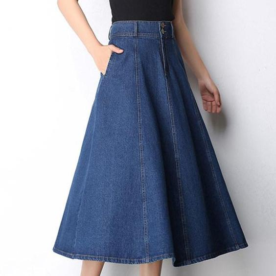 67647c3791 Women Cotton Long Denim Skirt With Pockets 2017 Casual Vintage High Waist  Denim Maxi Skirts Jeans
