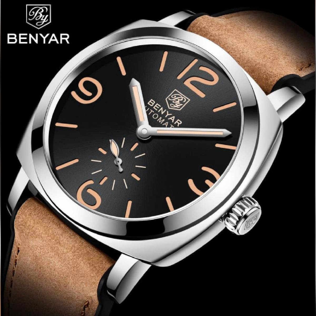 BENYAR 2020 Luxury Automatic Mechanical Leather Strap Watch For Men - BY5174