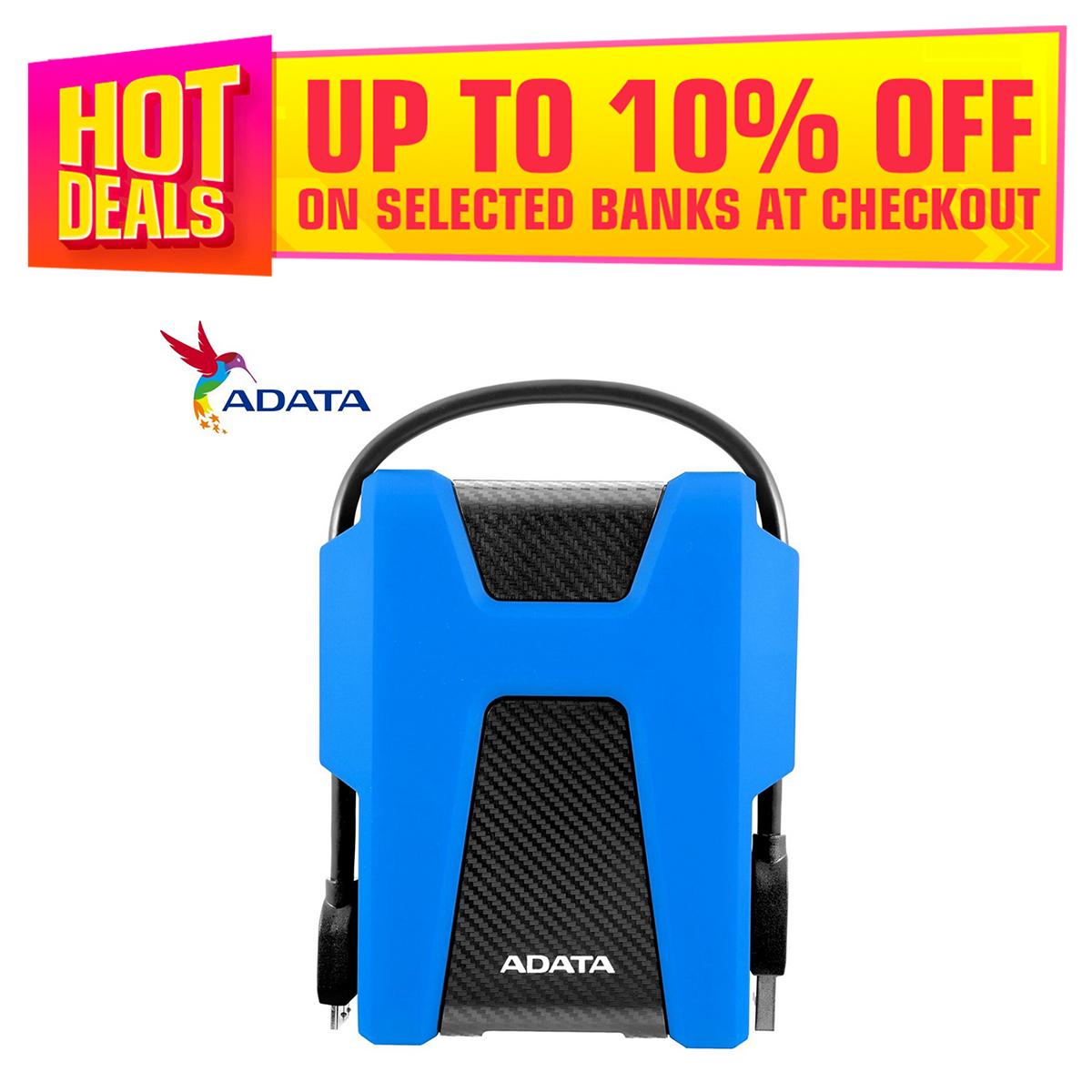 ADATA 2TB HD680 USB 3.2 Gen1 Military-Grade Shock-Proof External Portable Hard Drive Blue