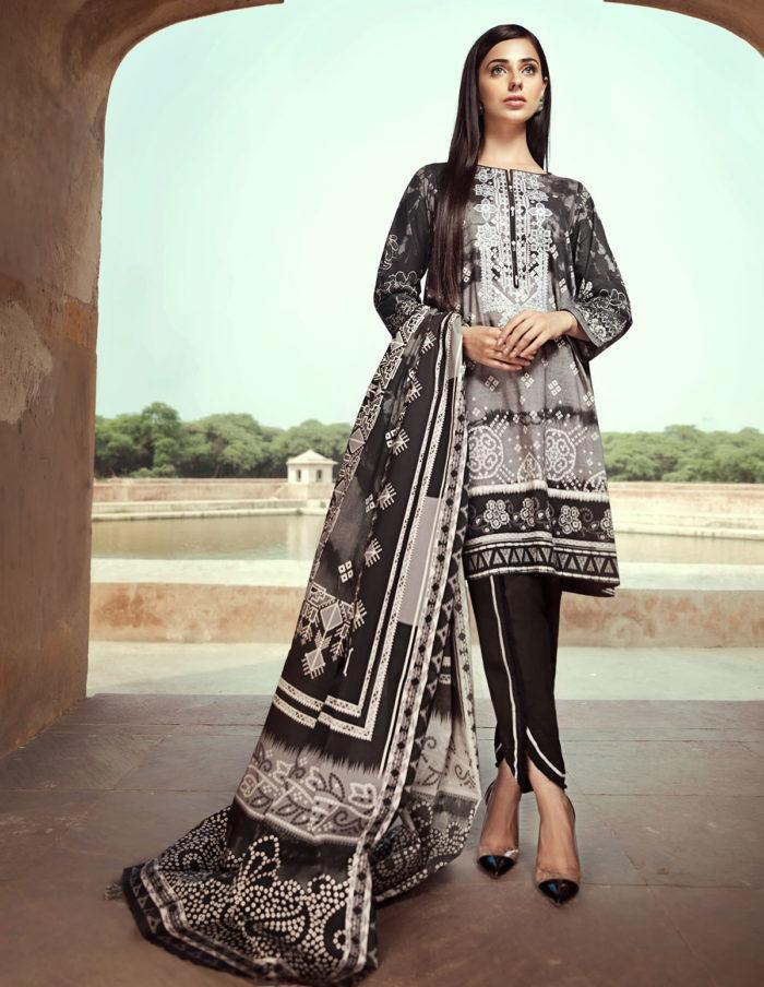 4ad3cc2c2cb edenrobe - Black N White 3 Pc Embroided Unstitched Cambric with Lawn  Duppatta