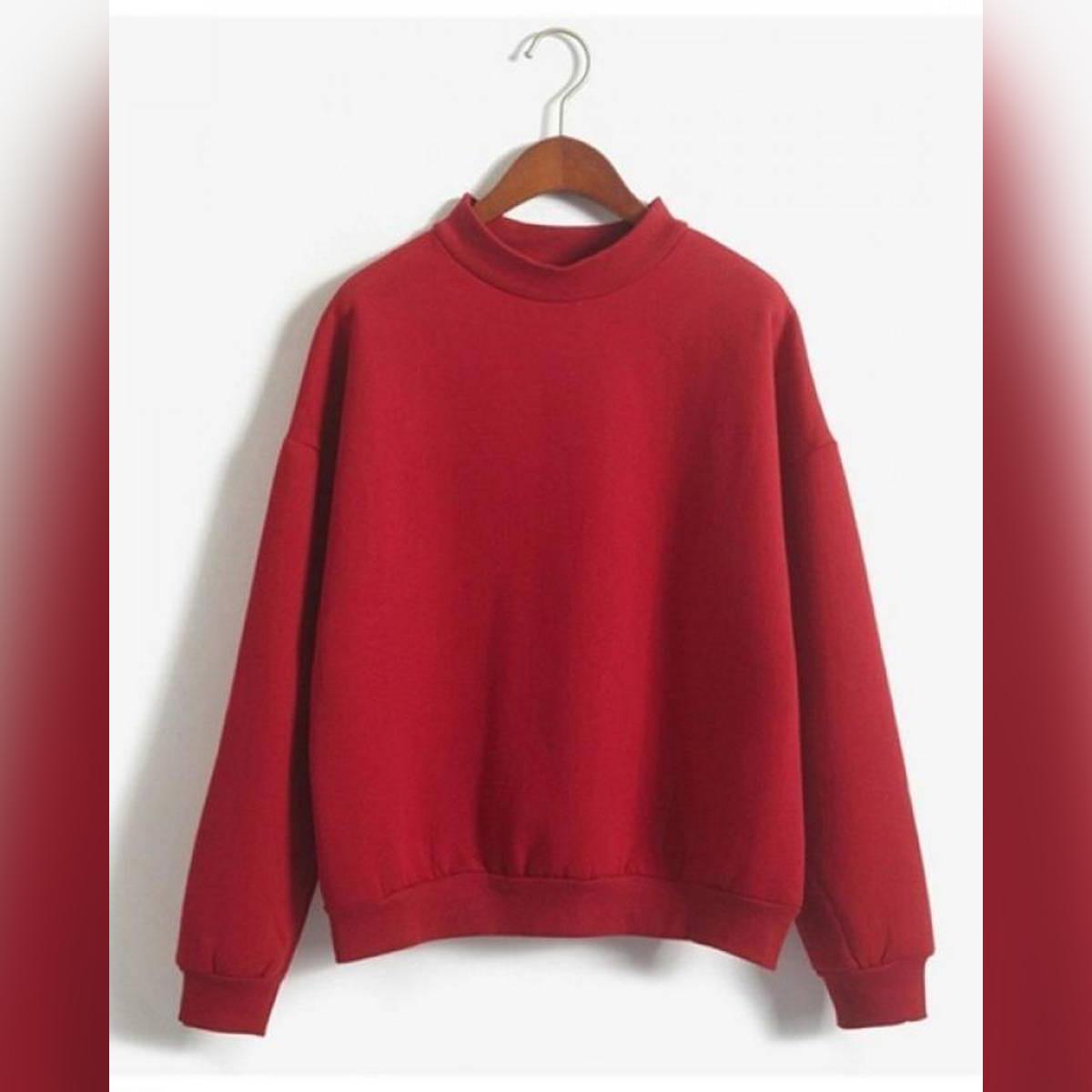 Sweatshirt 2018 Winter Casual Loose Fleece Pullover Red