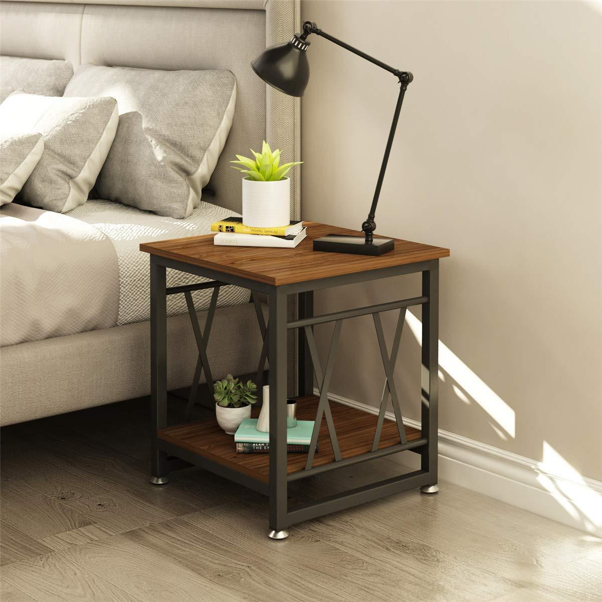 End Table with Storage 2 Tier Cocktail Table for Living Room Bedroom