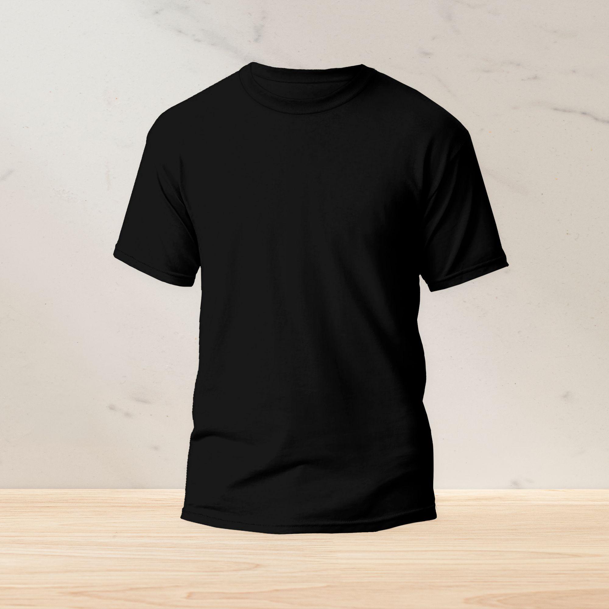 Plain Black Summer half sleeves T-Shirt for  Men Basic O-Neck Short Sleeves T Shirt