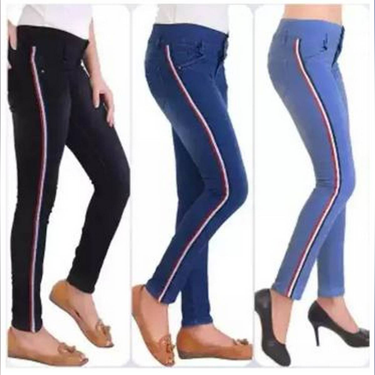 pack of 3 Skinny Stretch Side Stripe Jeans for girls