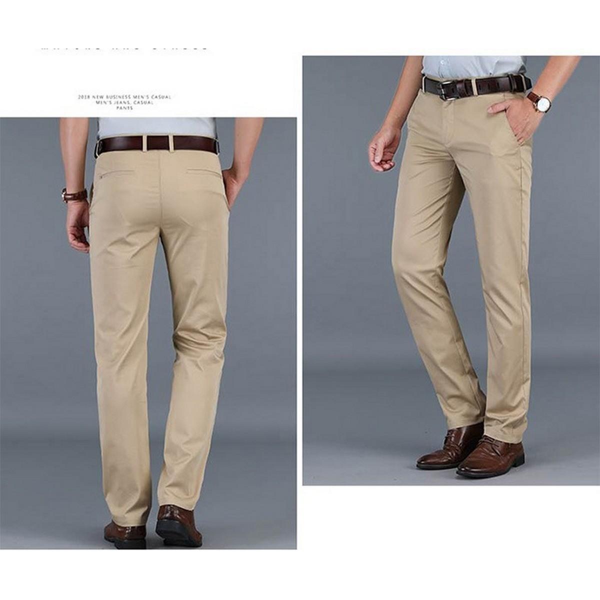 New Men's Basic Skin Color COTTON JEANS Business Pants  Regular Straight Pocket Stretch Pants Trending Fashion