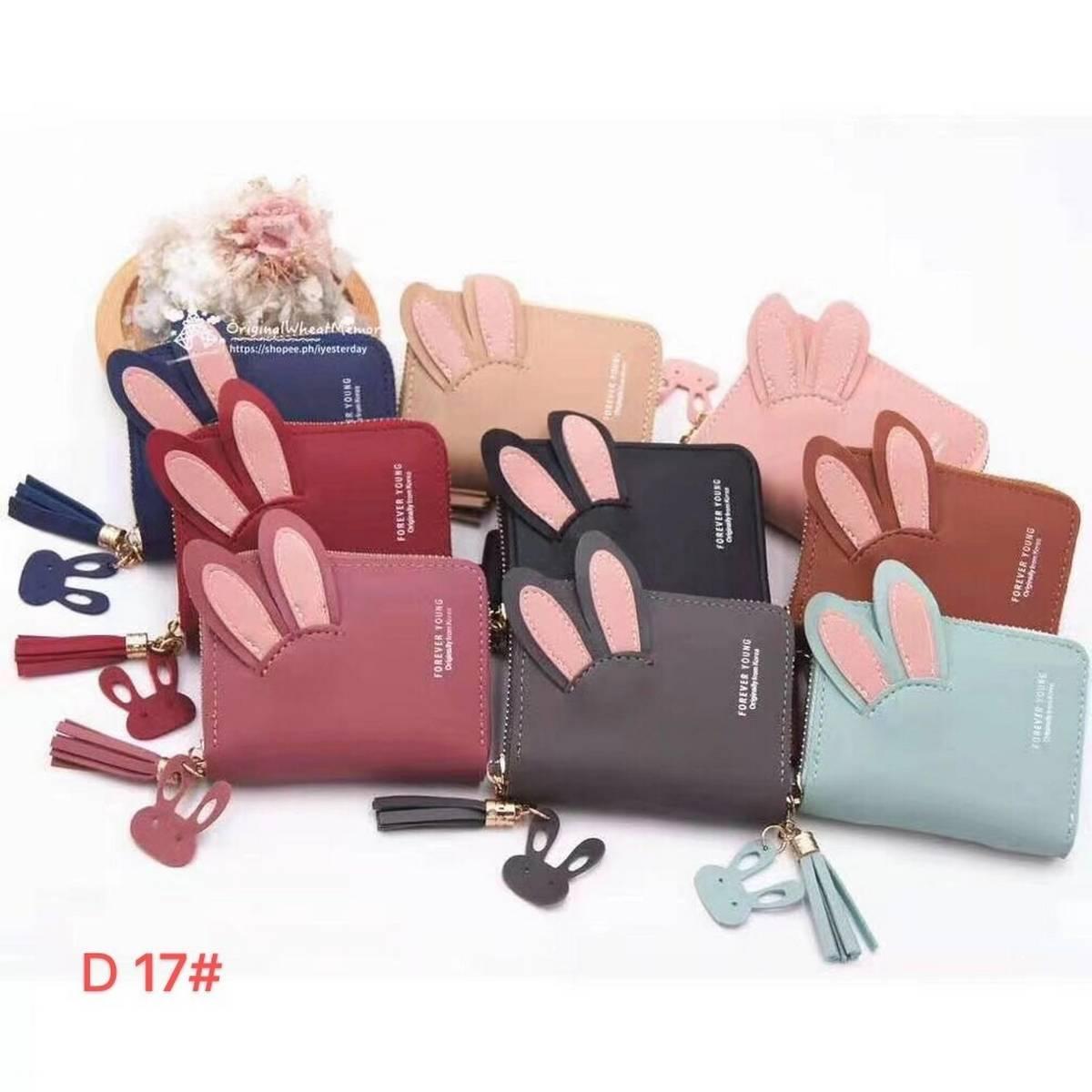 Bunny ears portable mini wallet womens Fashion Purse female short small wallets korean style student lovely pink purse female wallet.