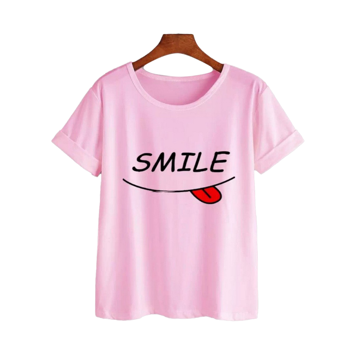 New Summer Smile Printed Round Neck Half Sleeves Casual T shirts For Girls Women and Ladies