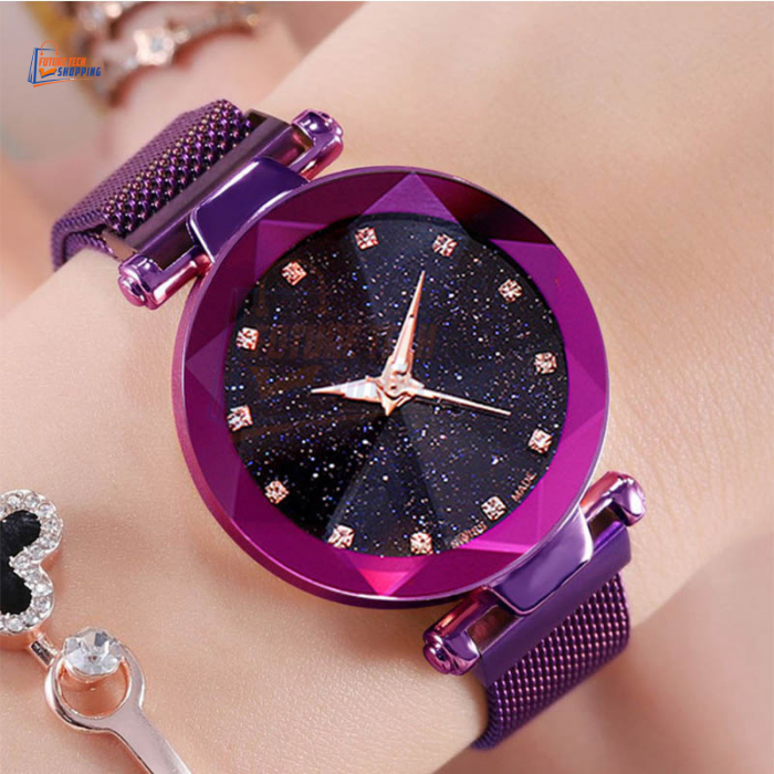 Magnetic Watch, Magnetic Buckle Ladies Wrist Watch for Women, Girls Quartz Watch, Starry Sky Magnetic Mesh Steel Strap Chain Watch, New Luxurious Fashion Watches for Girls