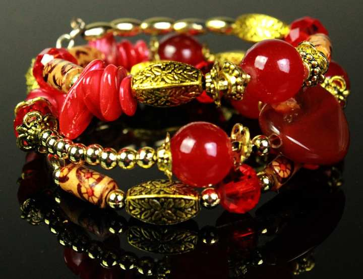 Antique Style Dull Golden Bracelet With Red Beads for Girl, Women, Her