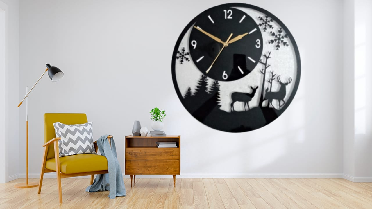 3D DIY Wild Forest Animal With Trees Laser Cut Wall Clock Gift for Nature Lovers Wall Decor Art Home Wall Hanging and Living Rooms Kids Rooms Lounge for Office