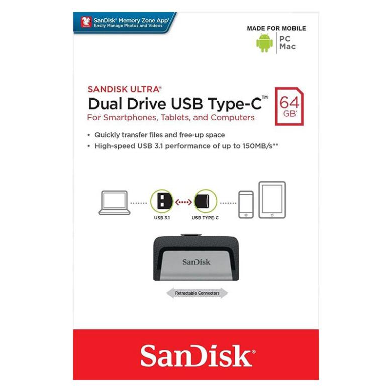 64Gb Dual Drive Usb Type-C Flash Drive Type-C Otg (5 Years Warranty)