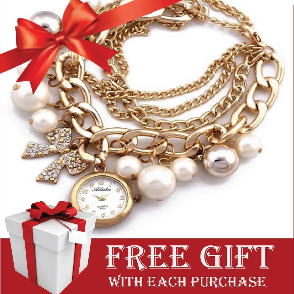 Girls Bracelate Watch With FREE GIFT - Pearl Bracelet Watch for Girls