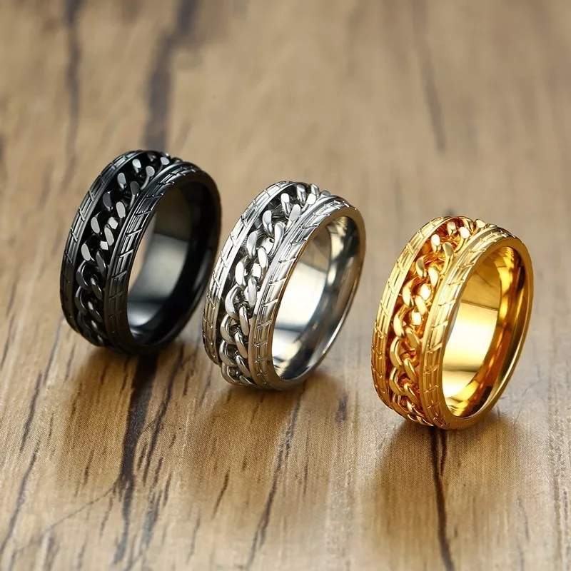 Pack of 3 High Quality Trendy Silver Golden Black Chain  Ring / Chala For Men and Women