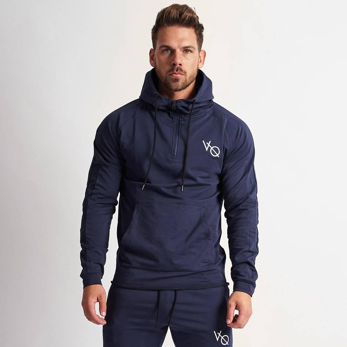 Fleece Printed Black Track Hoodie Jacket For Men