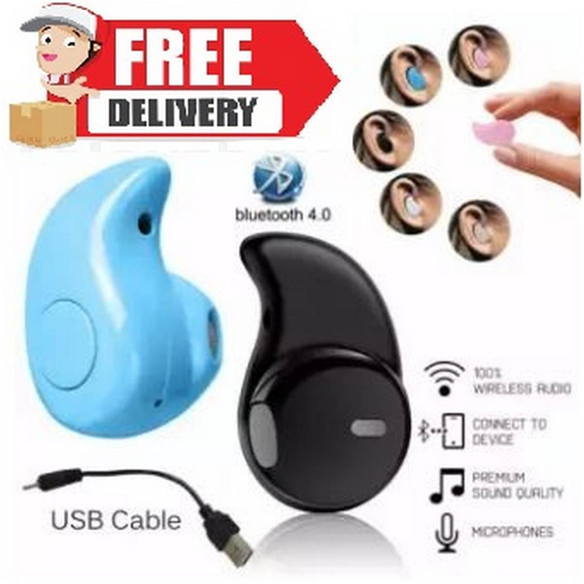 Free Shipping S530 Invisible In-Ear Wireless Bluetooth Hands Free Headphone V4.1 Compatible with Samsung & All Smart Phones